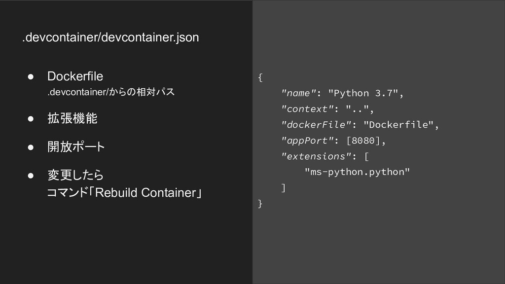 .devcontainer/devcontainer.json ● Dockerfile .d...