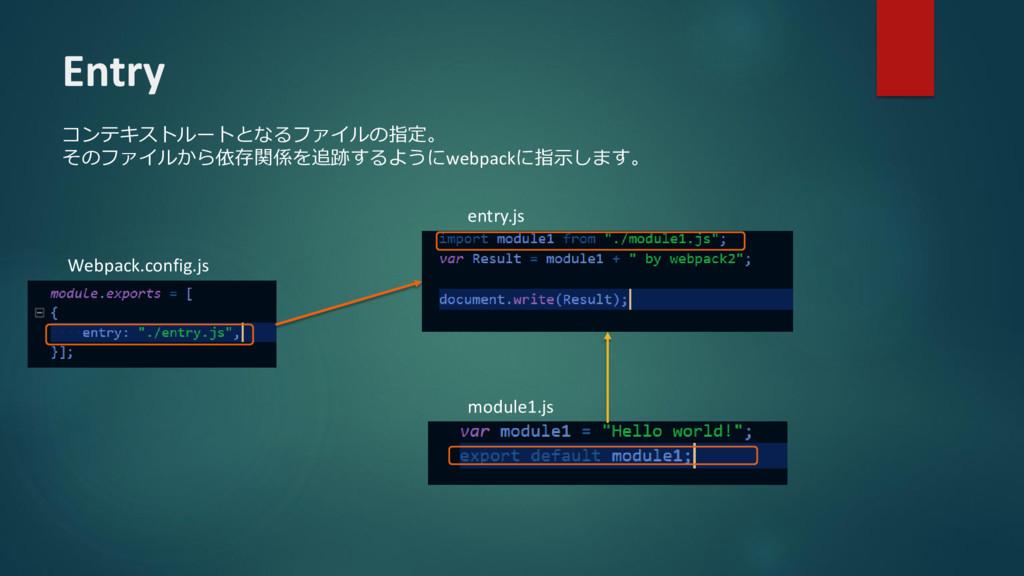 Entry コンテキストルートとなるファイルの指定。 そのファイルから依存関係を追跡するように...