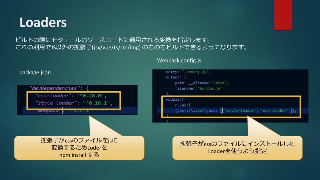 Loaders ビルドの際にモジュールのソースコードに適用される変換を指定します。 これの利用...