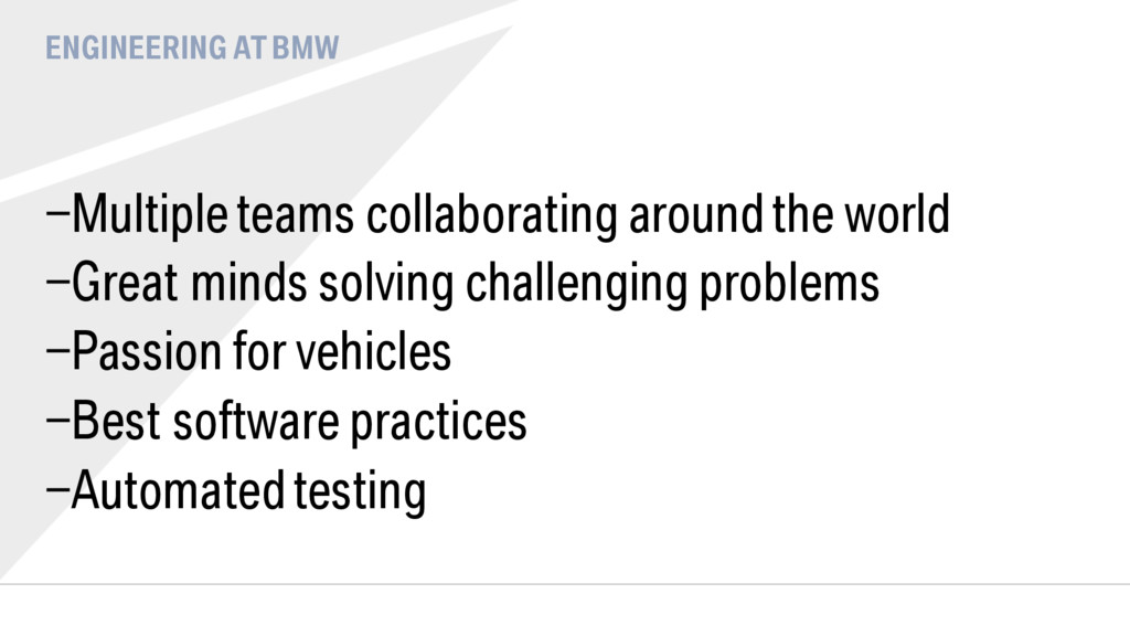 ENGINEERING AT BMW - Multiple teams collaborati...