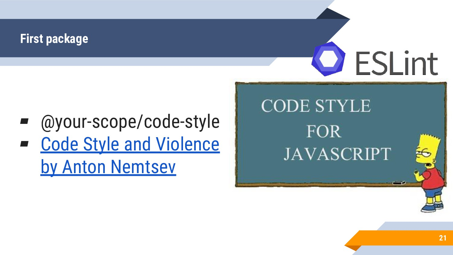 First package 21 ▰ @your-scope/code-style ▰ Cod...
