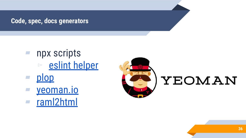 ▰ npx scripts ▻ eslint helper ▰ plop ▰ yeoman.i...