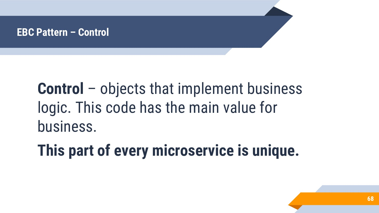 Control – objects that implement business logic...