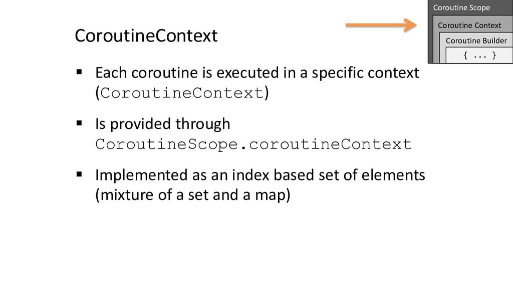 CoroutineContext § Each coroutine is executed i...