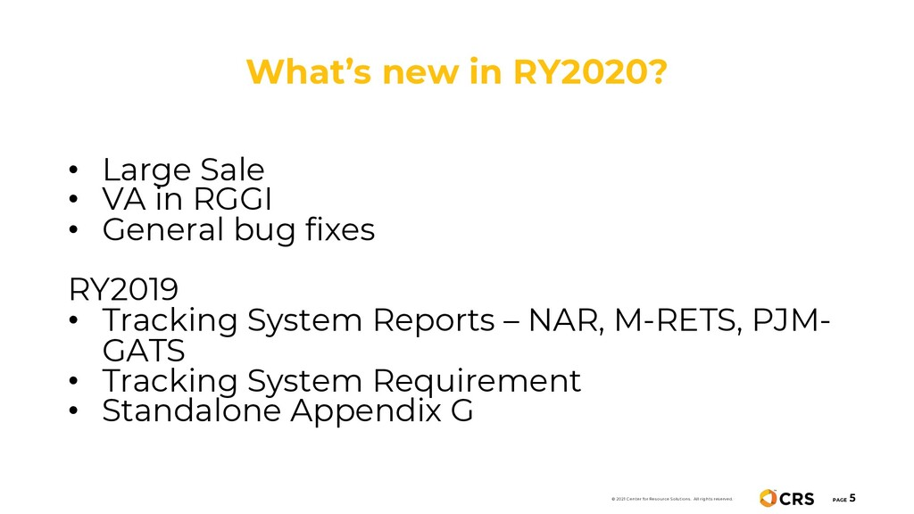 What's new in RY2020? PAGE 5 • Large Sale • VA ...