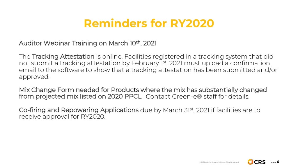 Reminders for RY2020 PAGE 6 Auditor Webinar Tra...