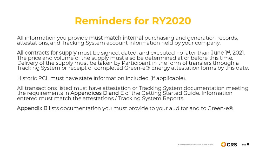 Reminders for RY2020 PAGE 8 © 2021 Center for R...