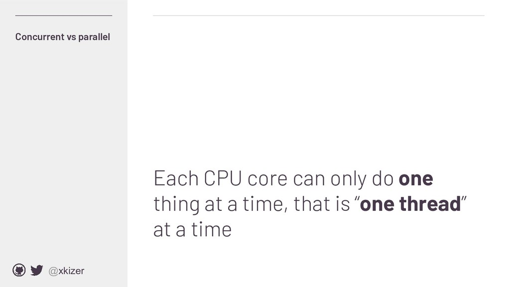 @xkizer Each CPU core can only do one thing at ...