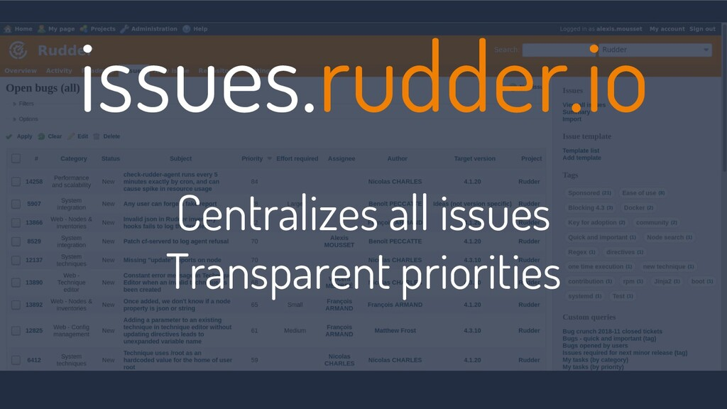 issues.rudder.io Centralizes all issues Transpa...
