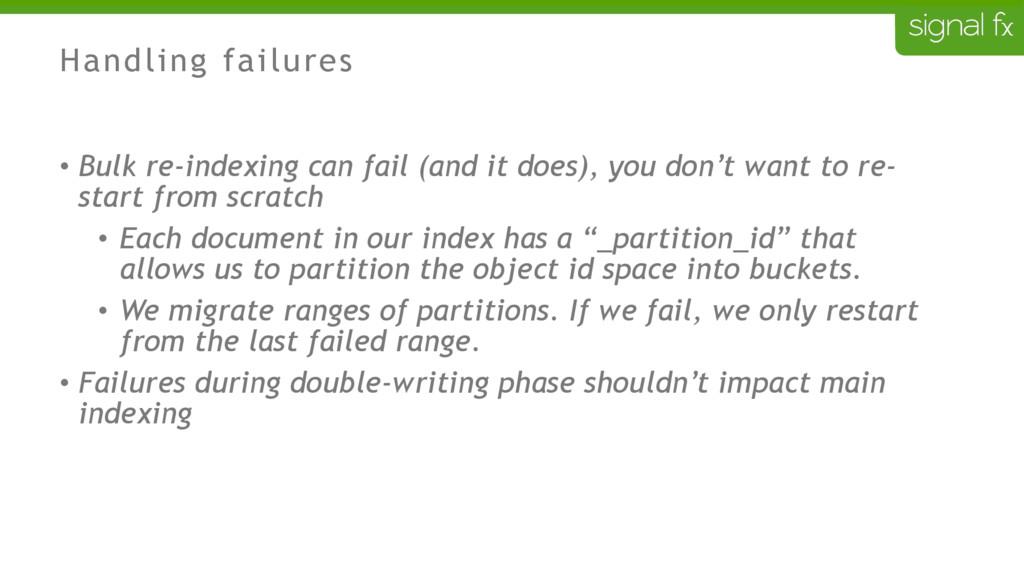 Handling failures • Bulk re-indexing can fail (...