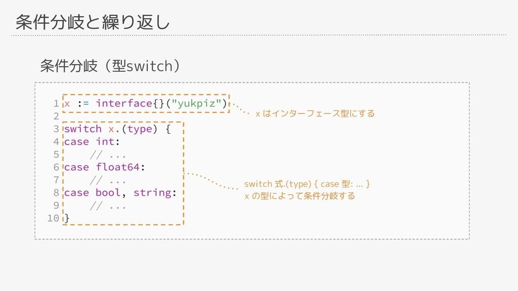 条件分岐と繰り返し 条件分岐(型switch) x はインターフェース型にする switch ...