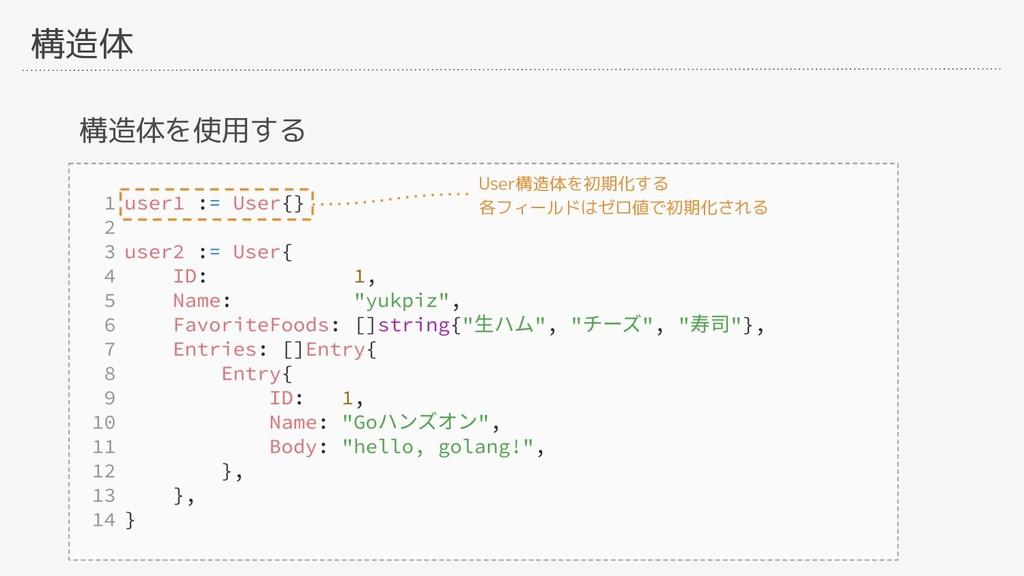 構造体 構造体を使用する User構造体を初期化する 各フィールドはゼロ値で初期化される