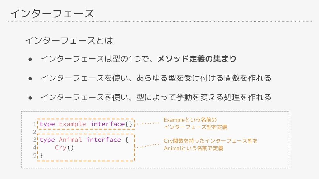 インターフェース インターフェースとは ● インターフェースは型の1つで、メソッド定義の集まり...
