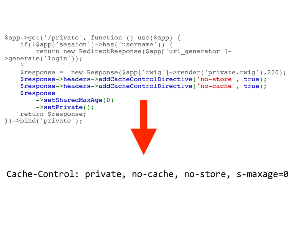 $app->get('/private', function () use($app) { i...