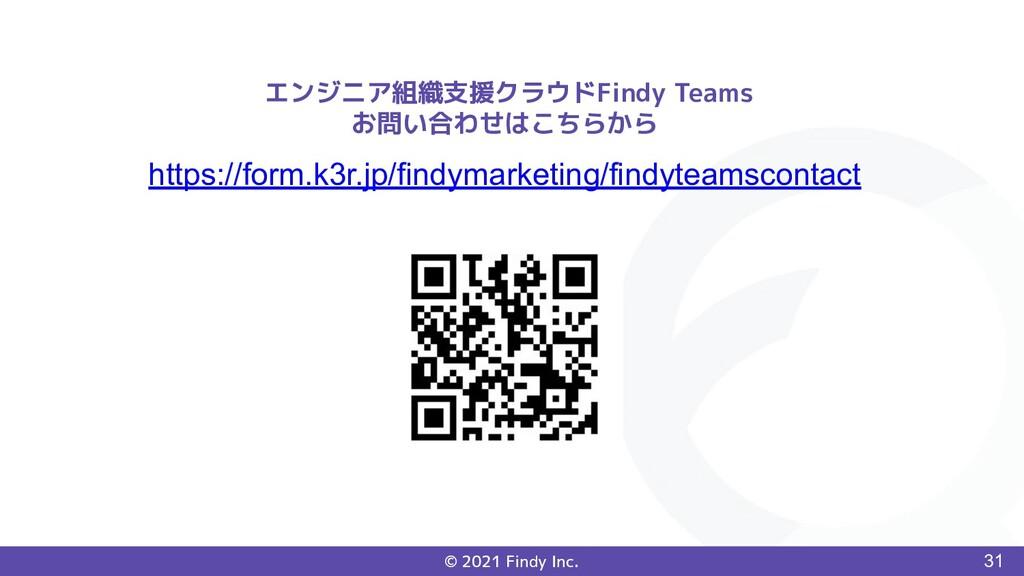 © 2021 Findy Inc. 31 エンジニア組織支援クラウドFindy Teams お...