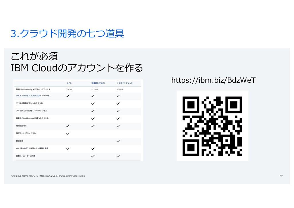 3.クラウド開発の七つ道具 これが必須 IBM Cloudのアカウントを作る https://...