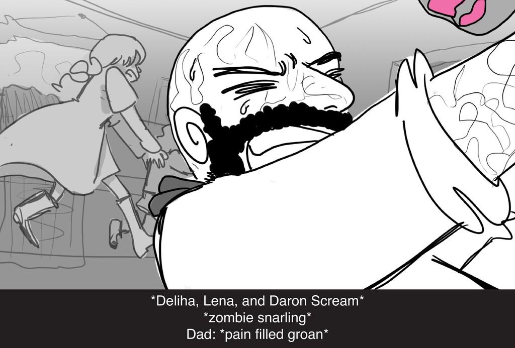 *Deliha, Lena, and Daron Scream* *zombie snarli...