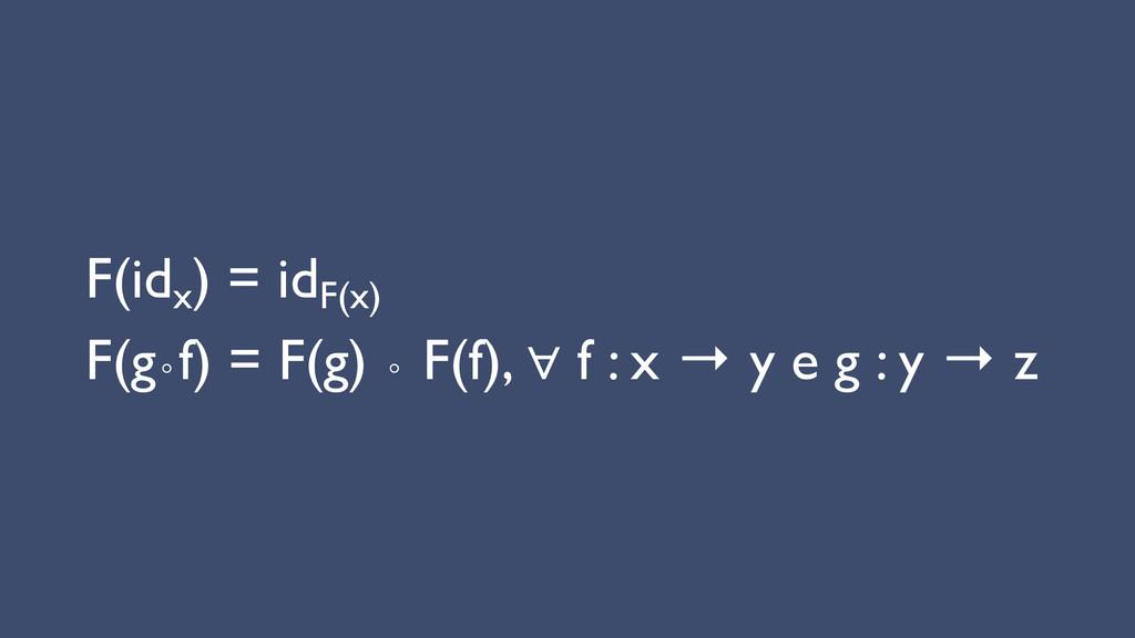 F(idx ) = idF(x)  F(g∘f) = F(g) ∘ F(f), ∀ f...