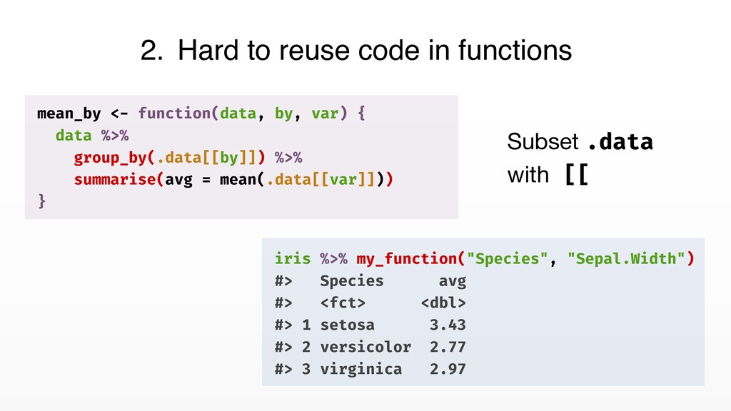 2. Hard to reuse code in functions mean_by <- f...