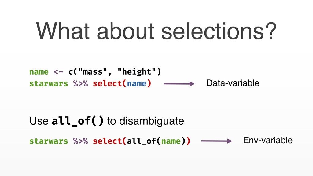 What about selections? Use all_of() to disambig...