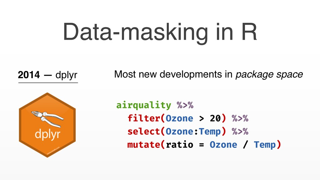 Data-masking in R 2014 — dplyr Most new develop...