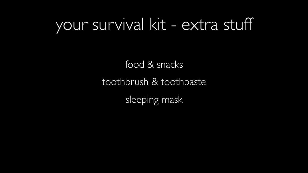 food & snacks sleeping mask toothbrush & toothp...