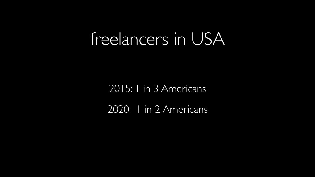 freelancers in USA 2015: 1 in 3 Americans 2020:...