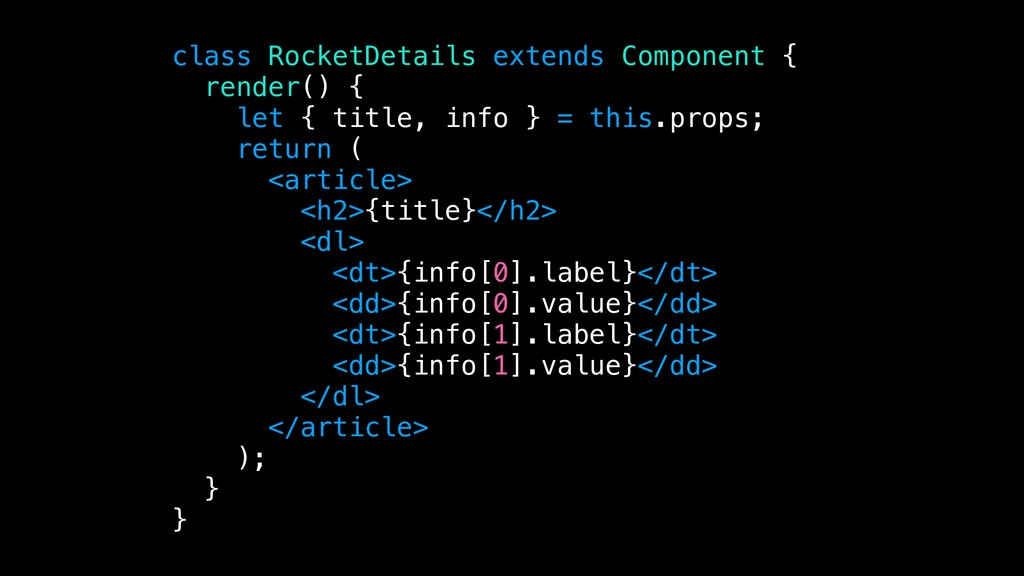 class RocketDetails extends Component { render(...