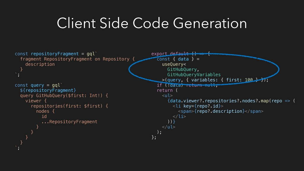 Client Side Code Generation export default () =...