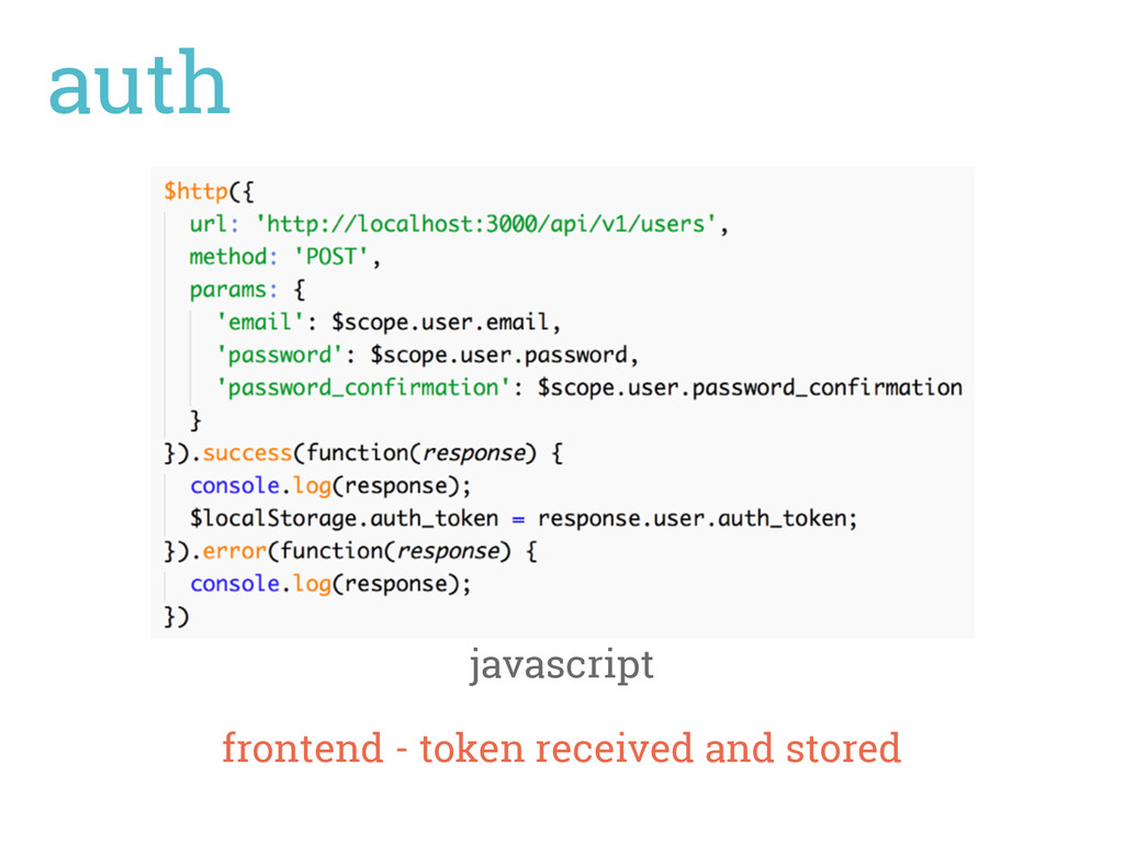 auth javascript frontend - token received and s...
