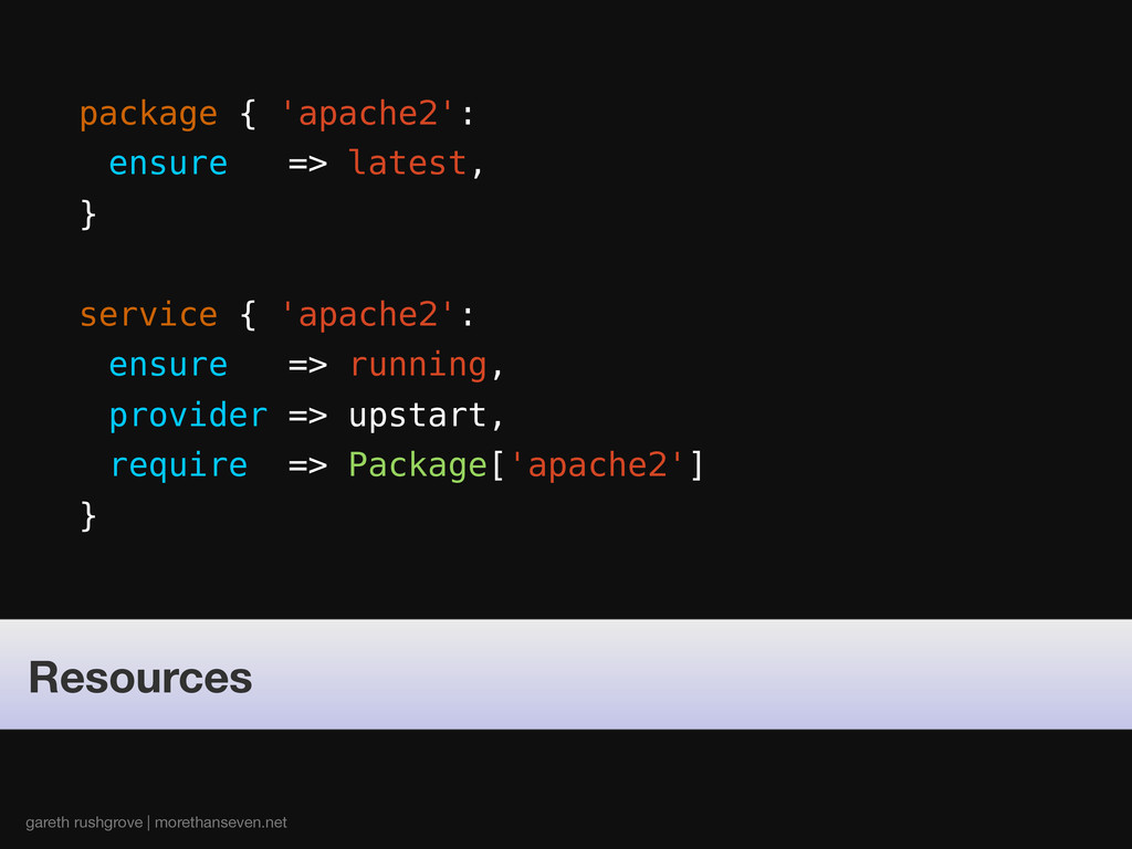 package { 'apache2': ensure => latest, } servic...
