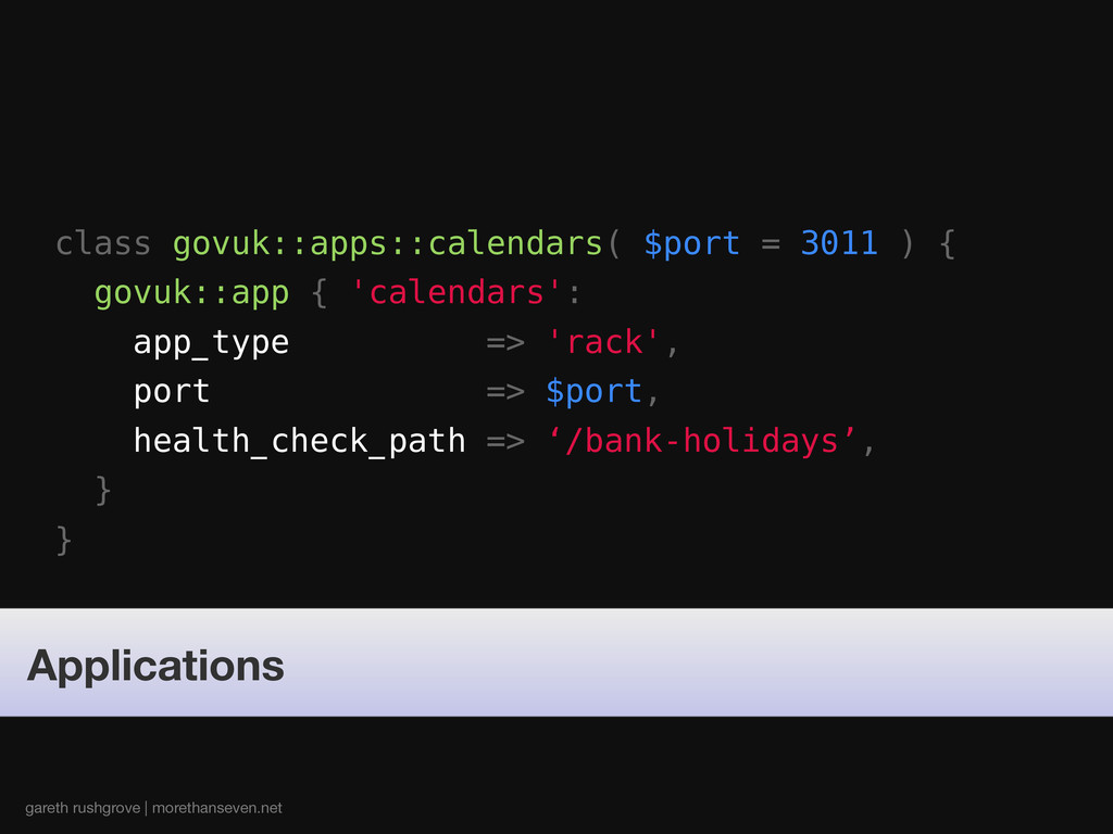 class govuk::apps::calendars( $port = 3011 ) { ...