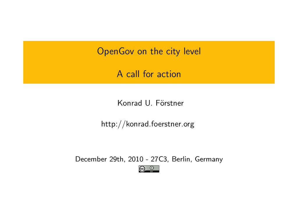 OpenGov on the city level A call for action Kon...