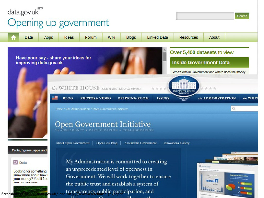 Screeshots of http://data.gov.uk/ and http://ww...