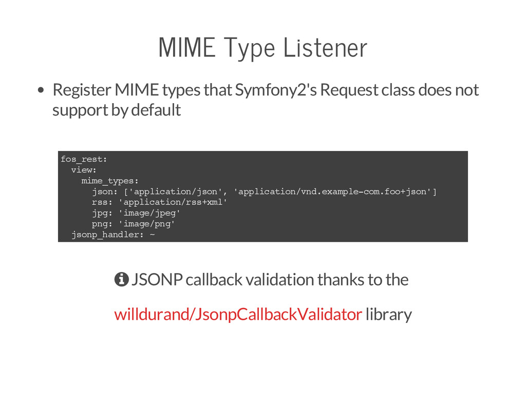 MIME Type Listener Register MIME types that Sym...