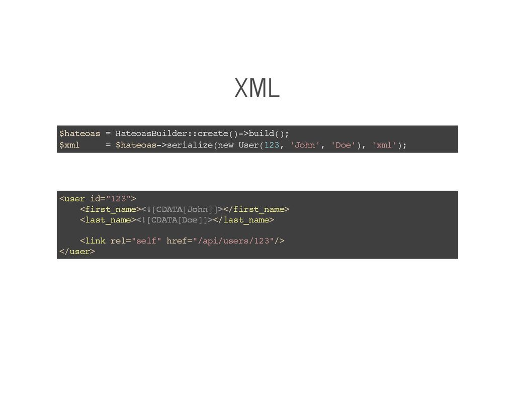 XML $hateoas = HateoasBuilder::create()->build(...
