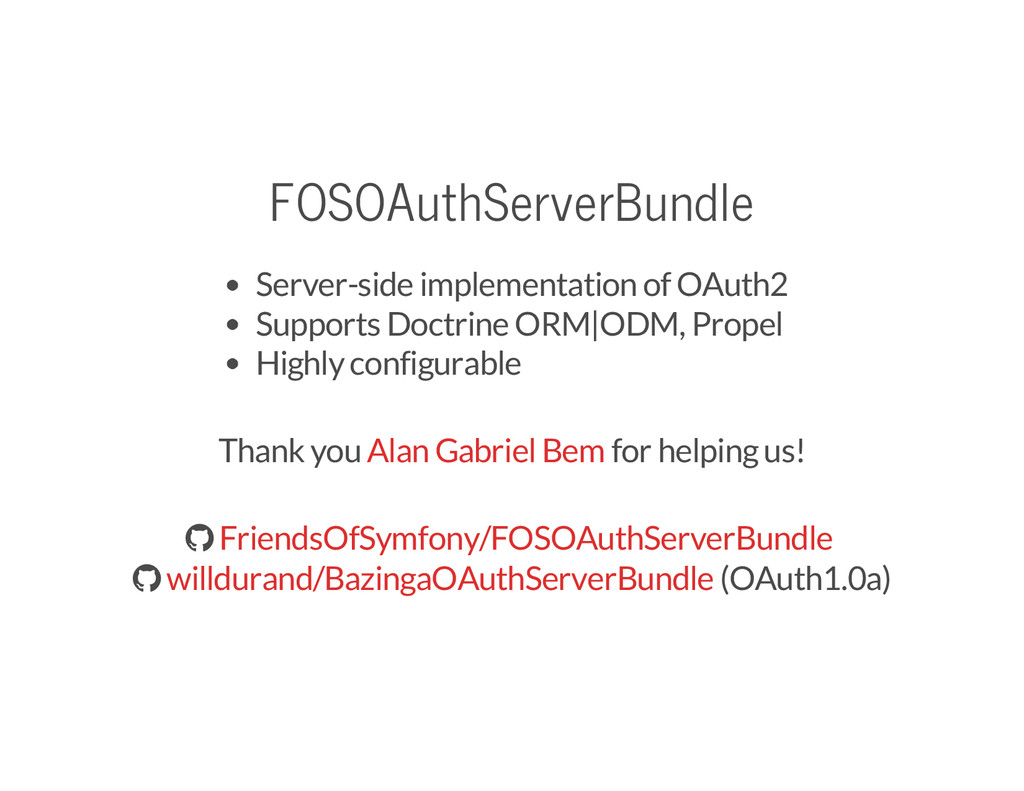 FOSOAuthServerBundle Server-side implementation...