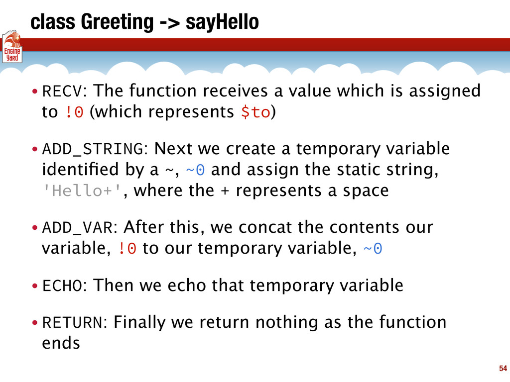 class Greeting -> sayHello • RECV: The function...