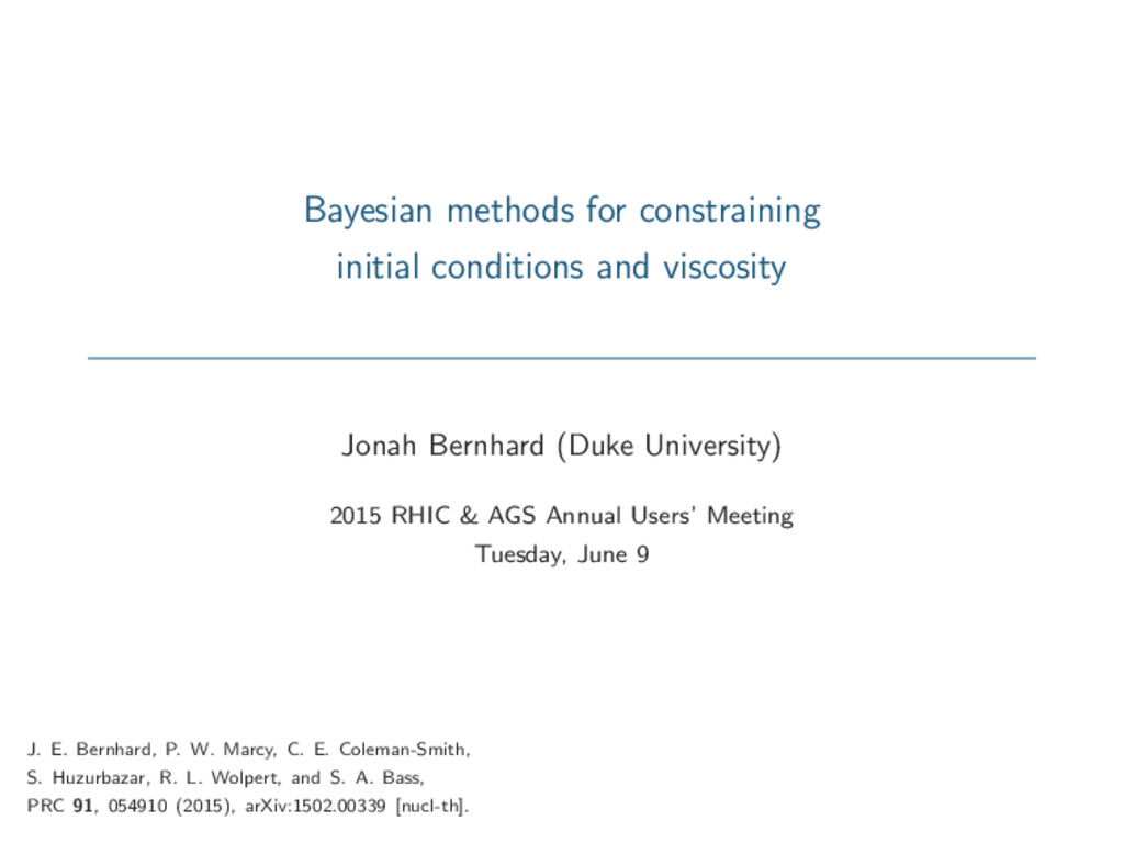 Bayesian methods for constraining initial condi...