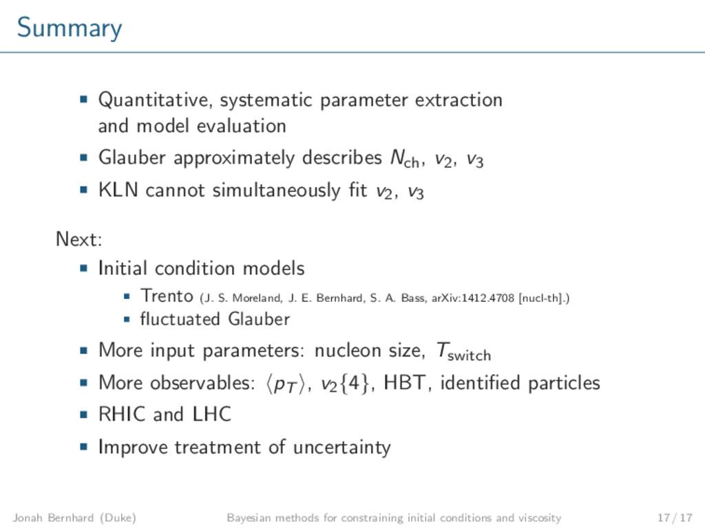 Summary Quantitative, systematic parameter extr...