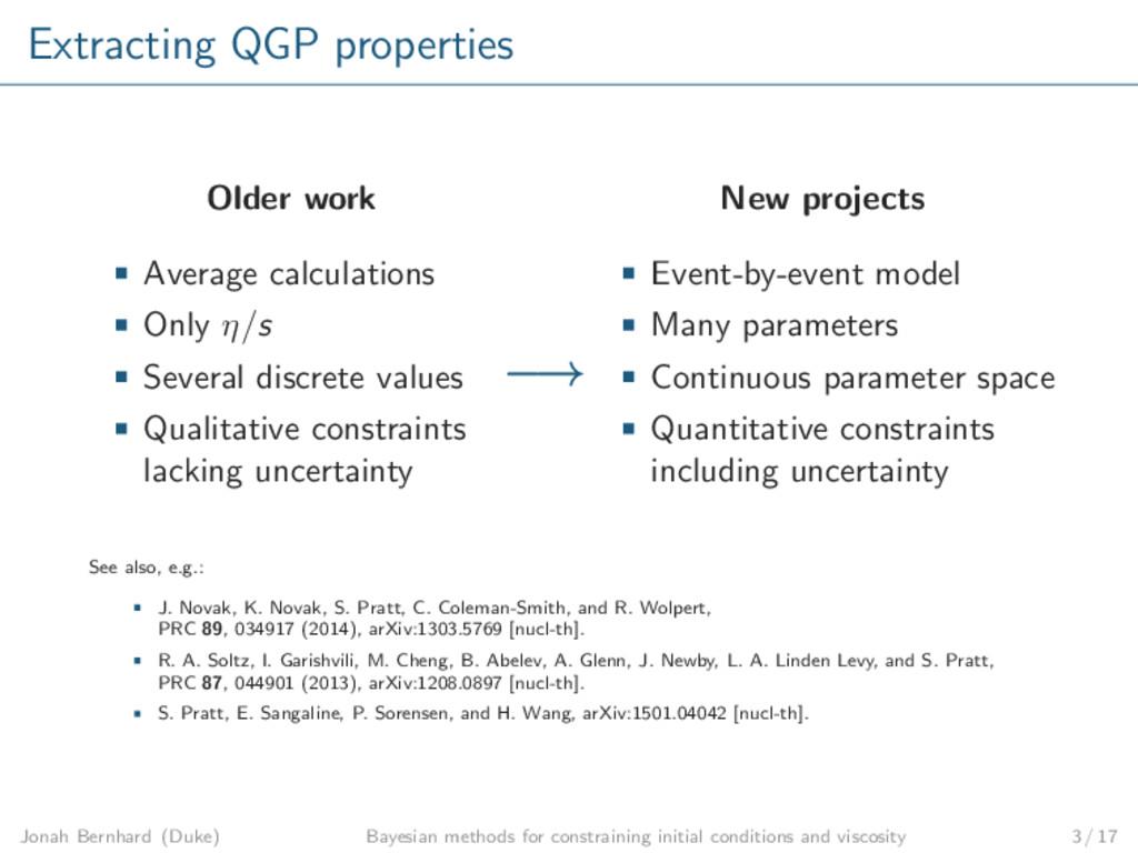 Extracting QGP properties Older work Average ca...
