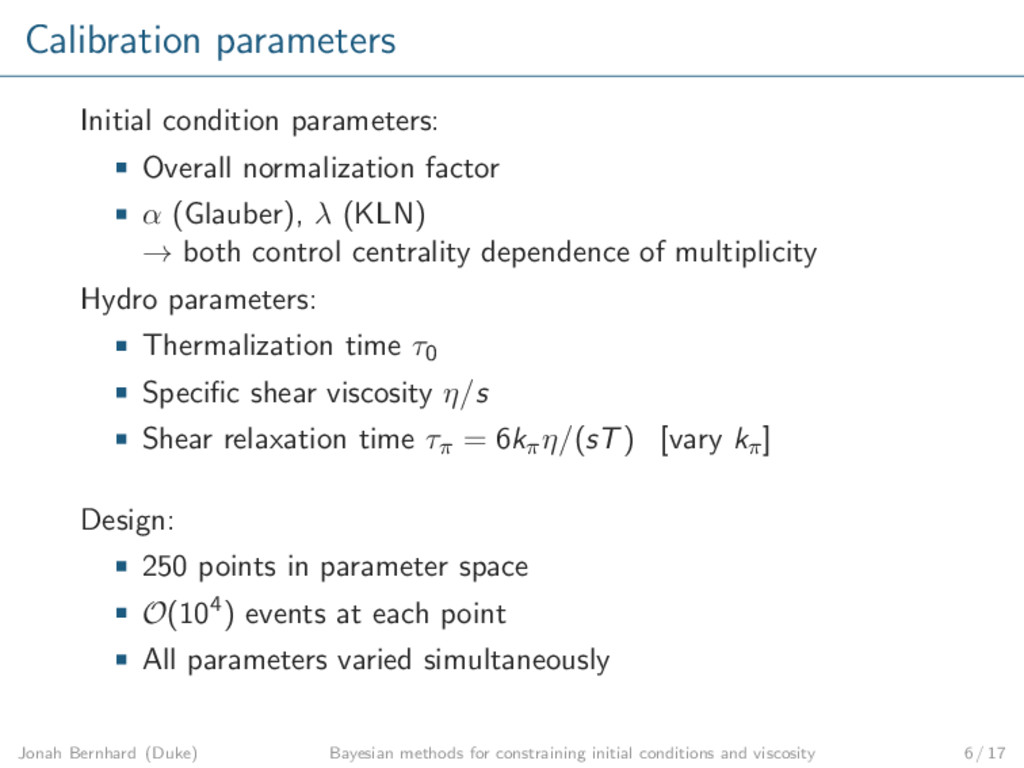 Calibration parameters Initial condition parame...