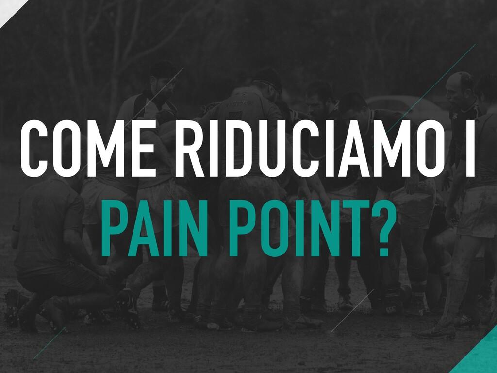 COME RIDUCIAMO I PAIN POINT?