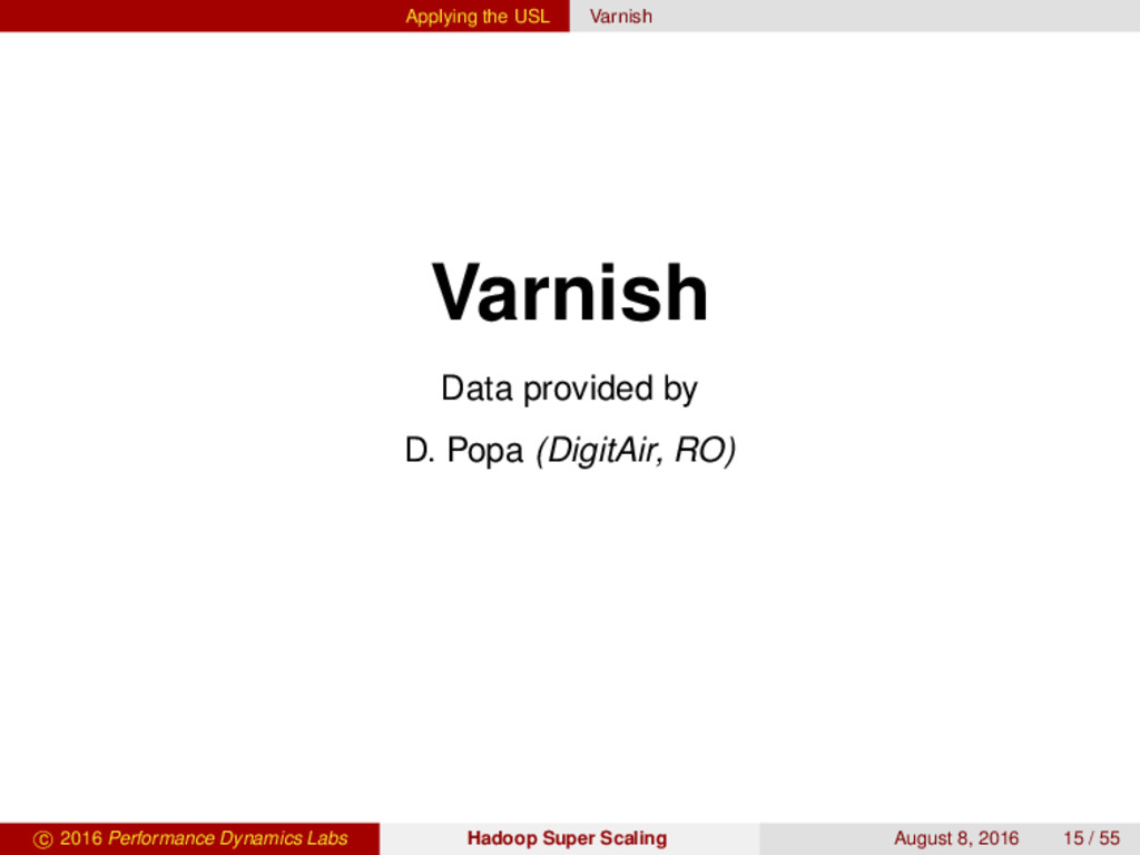 Applying the USL Varnish Varnish Data provided ...