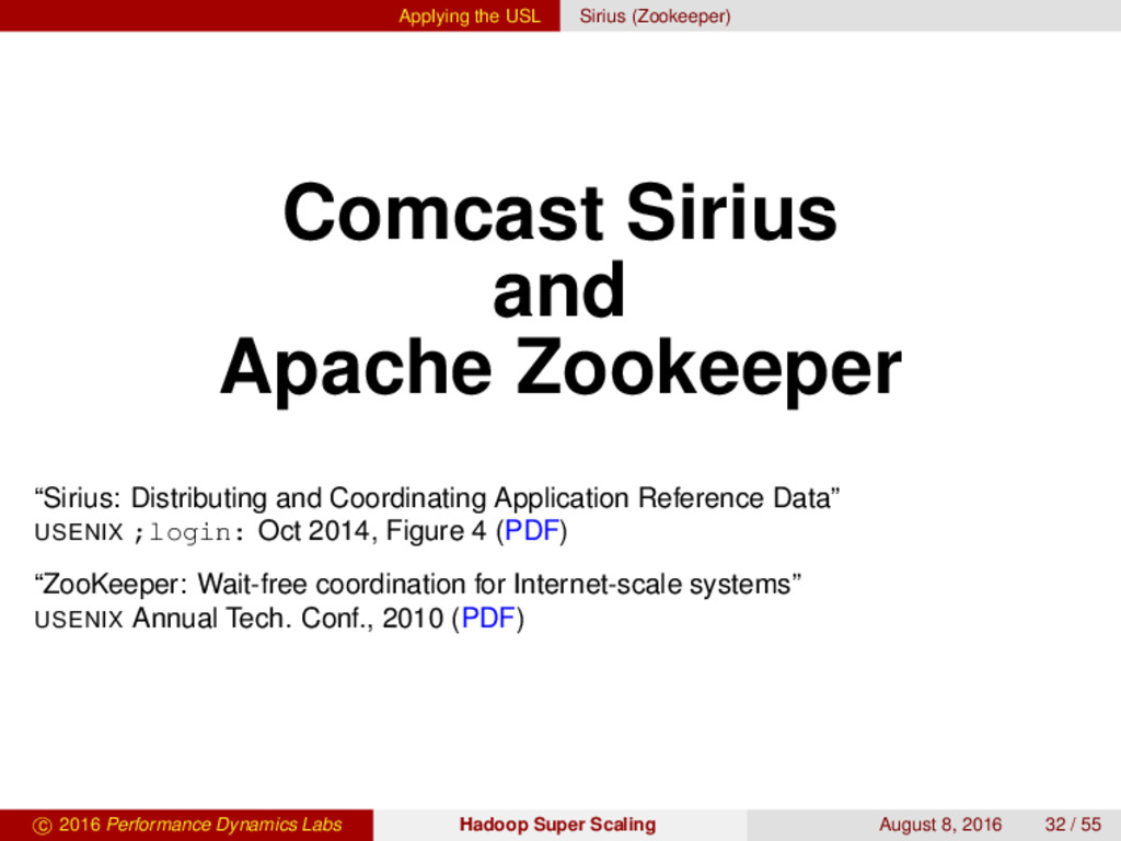 Applying the USL Sirius (Zookeeper) Comcast Sir...