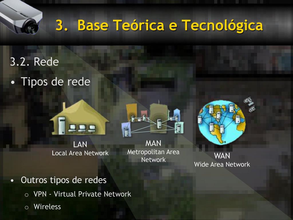 3. Base Teórica e Tecnológica 3.2. Rede • Tip...