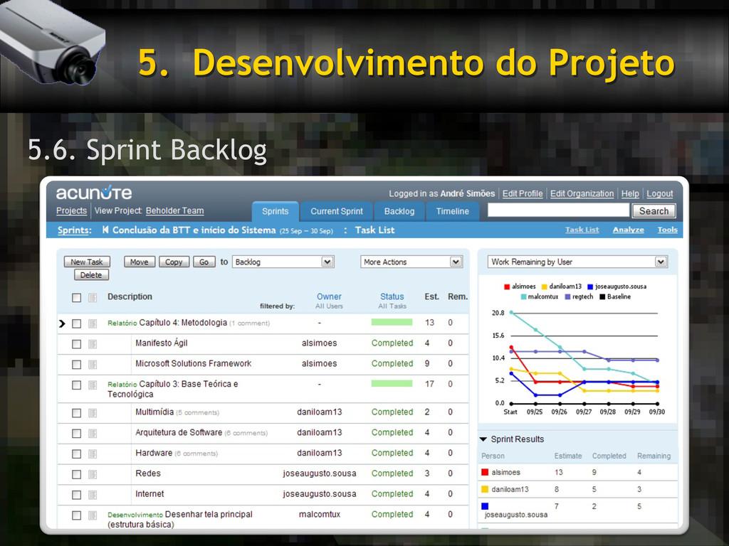 5. Desenvolvimento do Projeto 5.6. Sprint Back...