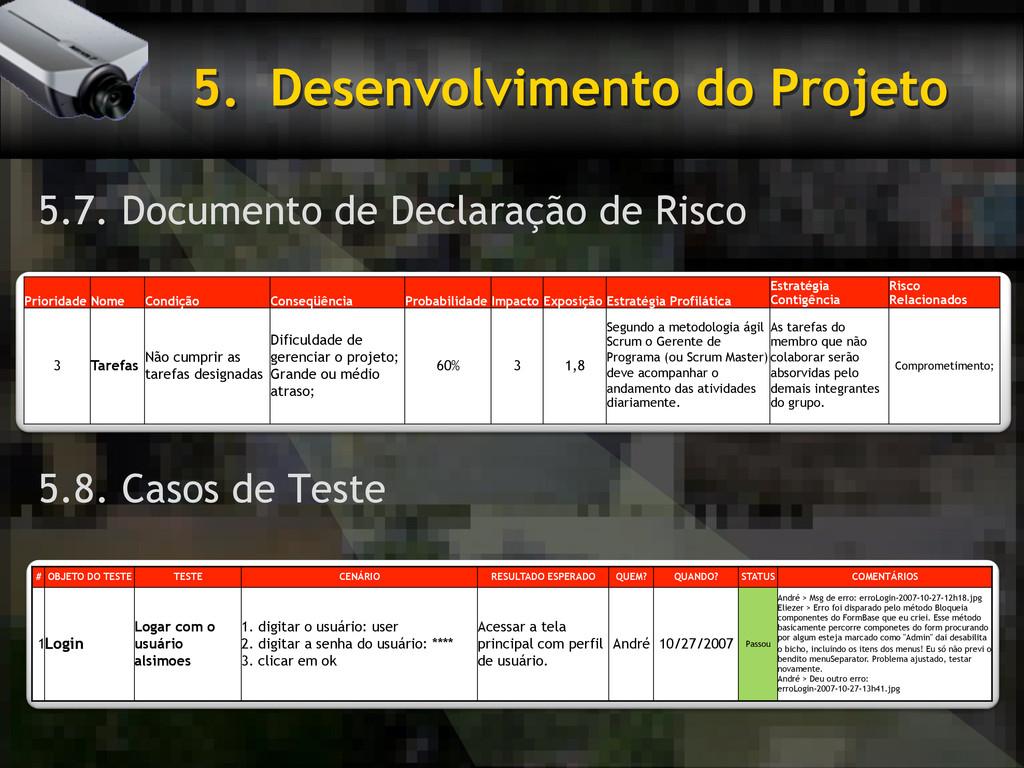 5. Desenvolvimento do Projeto 5.7. Documento d...