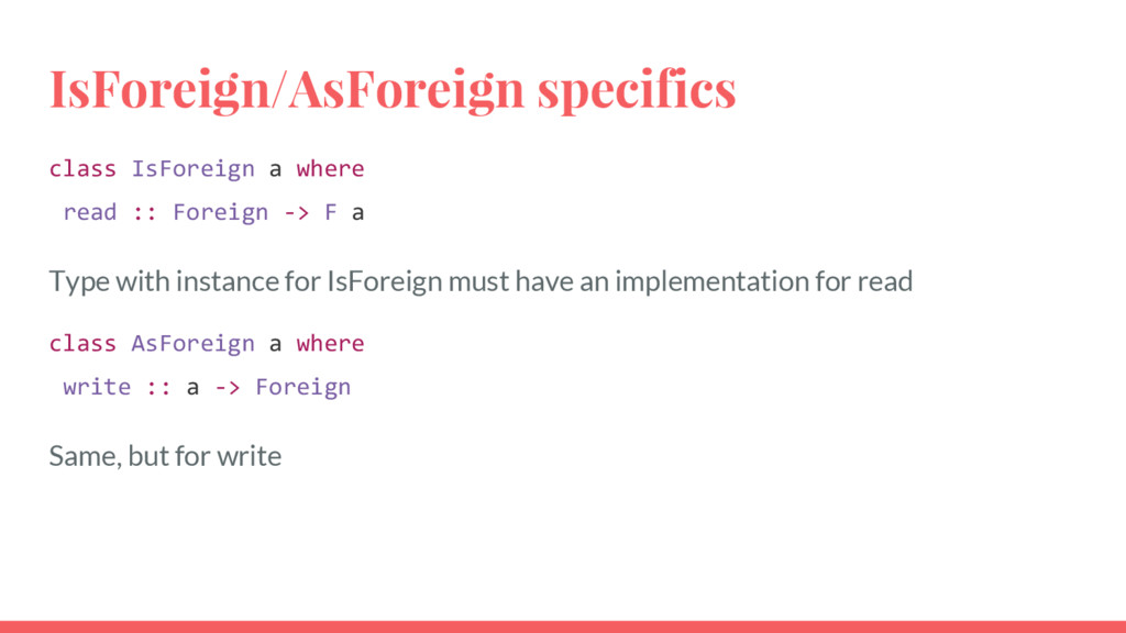 IsForeign/AsForeign specifics class IsForeign a...