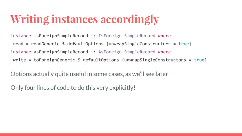 Writing instances accordingly instance isForeig...